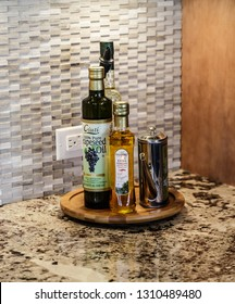 ATLANTA, GEORGIA - February 11, 2016: Gourmet oils have become a growing marketplace and have led to the introduction of oil and vinegar tasting bars.