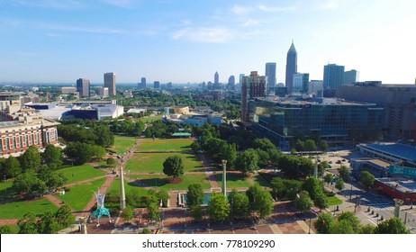 Atlanta, Georgia, Fulton County, June 2015 Downtown.  CNN Center, Centennial Olympic Park, Aerial View