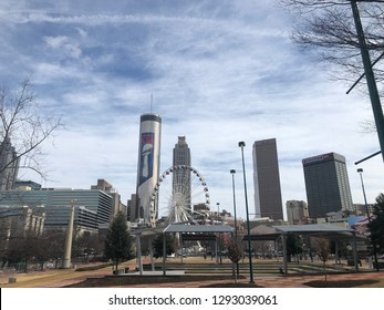 ATLANTA, GEORGIA (GA) USA - January 23, 2019: downtown with Super Bowl 53 banners on buildings and stage set for concert in Centennial Olympic Park.