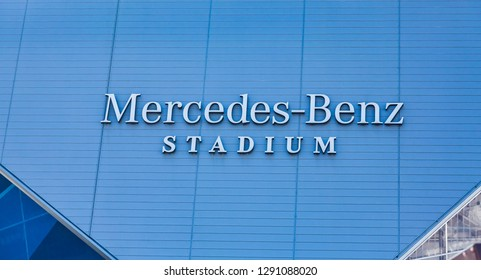 ATLANTA, GEORGIA - January 21, 2019: Superbowl LIII will be played at Atlanta's Mercedes-Benz Stadium on Sunday, February 3, 2019 against the New England Patriots and the Los Angeles Rams.