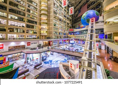 ATLANTA, GEORGIA - JANUARY 25, 2018: CNN Center in Atlanta. The building is world headquarters for CNN.