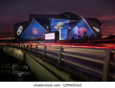Atlanta, Georgia - January 28 2019: Atlanta, Georgia is getting ready for the SuperBowl LIII at the Mercedes Benz Stadium arena before game between New England patriots and Los Angeles Rams