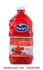 ATLANTA, GEORGIA - March 15, 2015: Photo of a bottle of Ocean Spray cranberry juice cocktail. Healthy and refreshing juice; often recommended to treat bladder infection.