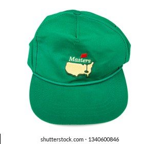 ATLANTA, GEORGIA - March 2, 2017: A green hat from the Masters golf tournament in Augusta, Georgia