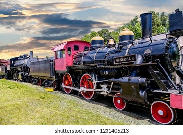 ATLANTA, GEORGIA - May 11, 2015: The General II steam locomotive built in 1855 in New Jersey and served routes from Atlanta, Georgia.