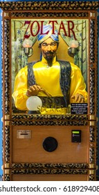 ATLANTA, GEORGIA - May 13, 2014: Zoltar the fortune telling robot has been showing up in amusement parks and penny arcades for decades.