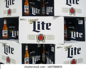 ATLANTA, GEORGIA - MAY 24, 2019 : Miller Lite 24 pack beer bottle display at local grocery store. Miller Lite is one of the top selling domestic beers in the United States.