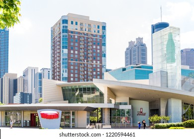 ATLANTA, GEORGIA - May 3, 2015: The World of Coca-Cola is a museum built in the Centennial Park  development in 2007 to replace the original built in the '90s in Underground Atlanta