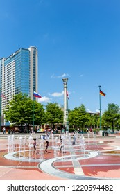 ATLANTA, GEORGIA - May 3, 2015: The Omni Hotel, along with CNN, was built in 1976 as part of the Omni Complex. It is now the anchor to the famous Centennial Park, developed for the 1996 Olympics.