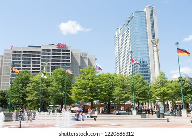 ATLANTA, GEORGIA - May 3, 2015: CNN Center is the headquarters of CNN, built in 1976 as part of the Omni Complex. It is now the anchor to the famous Centennial Park, developed for the 1996 Olympics.