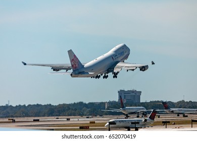 Atlanta, Georgia - October 13, 2016: China Airlines Cargo airplane takes off in Hartsfield-Jackson Atlanta International Airport.