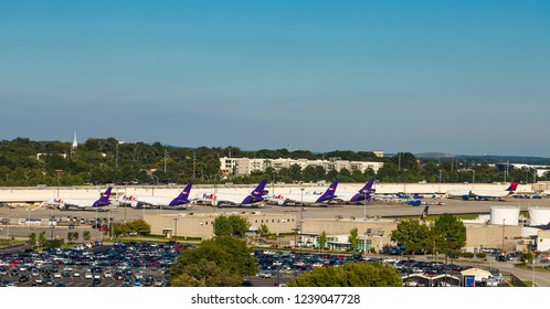 ATLANTA, GEORGIA - September 17, 2015: FedEx began in Detroit, but is currently headquartered in Memphis. Despite that being their hub, they have a huge presence in Atlanta's Airport
