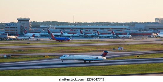 ATLANTA, GEORGIA - September 17, 2015: Delta Air Lines, headquartered in Atlanta, operates over 5,000 flights daily in 54 countries. The company began in Macon, Georgia in 1924 as a crop duster.