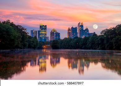 Atlanta, Georgia Skyline from Piedmont Park's Lake Meer.