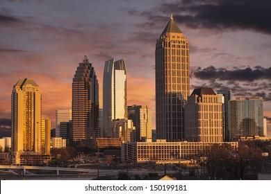 Atlanta Georgia skyline with sunset dusk sky