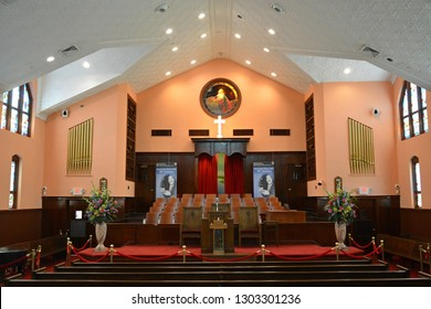 Atlanta, Georgia, United States of America - October 18, 2015. Interior of First Ebenezer Baptist Church in Atlanta, GA. Martin Luther King Jr, his father and grandfather were all pastors here.