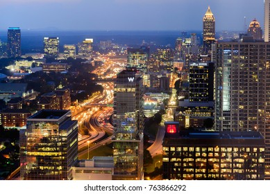 Atlanta, Georgia / United States - August 22, 2017:  Cityscape of downtown Atlanta at night