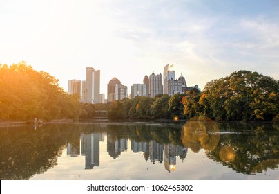 Atlanta, Georgia / United States - March 14, 2017: A view of the midtown skyline from the nostalgic Piedmont Park in Atlanta, Georgia