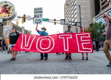 Atlanta, Georgia, US, June 2nd 2020: Black Lives Matter peaceful protests while state battles COVID-19 pandemic