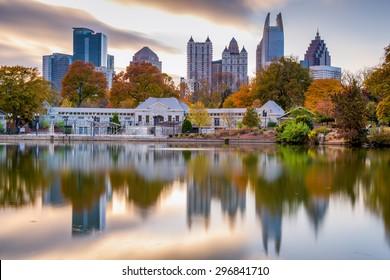 Atlanta, Georgia, USA autumn skyline from Piedmont Park.