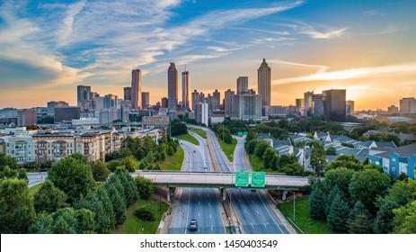 Atlanta, Géorgie, USA Downtown Aerial View.