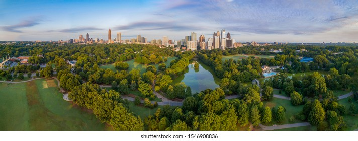 Atlanta, Georgia, USA Downtown Skyline Aerial Panorama.