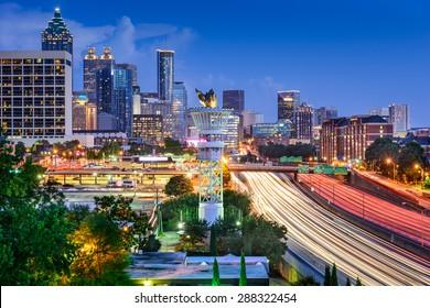 Atlanta, Georgia, USA downtown skyline over Interstate 85.