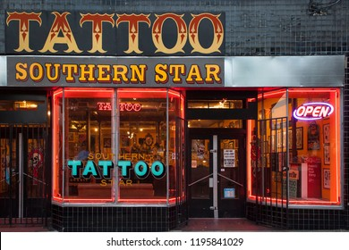 Atlanta, Georgia, USA – July 27, 2015: Night shot of the Southern Star Tattoo store window in Euclid Ave, Little Five Points