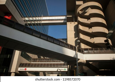 Atlanta, Georgia, USA – July 27, 2015: Skyways between Peachtree Center skyscrapers in Ted Turner Dr with John Portman Blvd corner