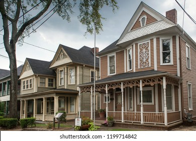 Atlanta, Georgia, USA – July 27, 2015: Row of houses in Auburn Ave, neighborhood where Martin Luther King born and grew up, King Historic District