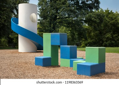 """Atlanta, Georgia, USA – July 29, 2015: Noguchi Playscape, playground designed by Isamu Noguchi as a part of """"Art in the Park"""" project, Piedmont Park, Midtown"""