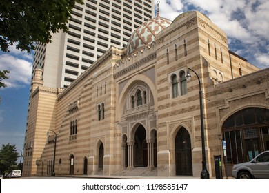 Atlanta, Georgia, USA – July 30, 2015: Oriental style lateral façade of the Fox Theater in Peachtree St, Midtown
