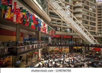 Atlanta, Georgia, USA – July 30, 2015: Horizontal view of the interior of the CNN TV headquarters, Downtown