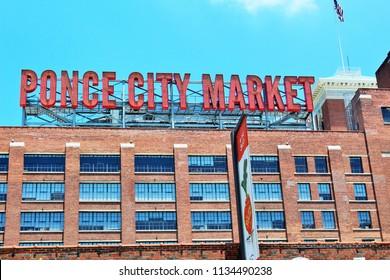 ATLANTA, GEORGIA: USA- June 2018- Ponce City Market front sign.
