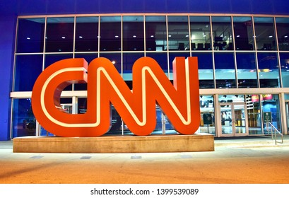 Atlanta, Georgia/ USA - June 22, 2016: Cable News Network (CNN) first went on the air in June 1980. Featured here is the giant CNN logo in front of the CNN Center (World Headquarters for CNN).