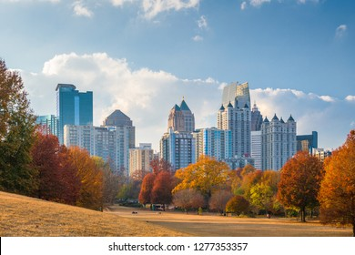 Atlanta, Georgia, USA midtown skyline from Piedmont Park in autumn in the afternoon.