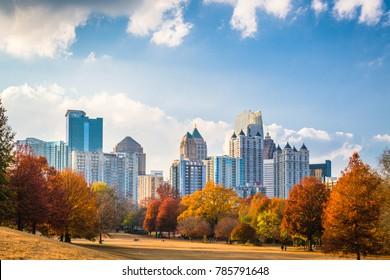 Atlanta, Georgia, USA midtown skyline from Piedmont Park in autumn.