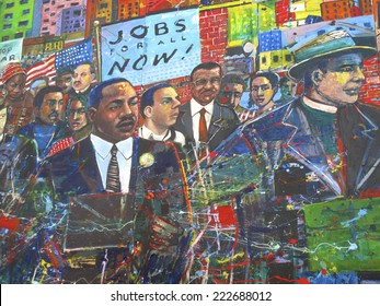 Atlanta, Georgia, USA - October 9, 2014: Martin Luther King Jr. Mural at the National Historic Site in Atlanta, GA