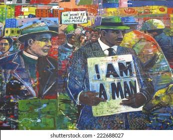 Atlanta, Georgia, USA - October 9, 2014: Martin Luther King Jr. Mural at the National Historic Site in Atlanta, GA