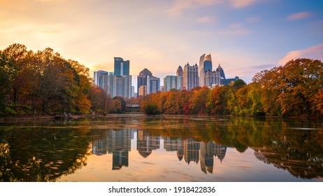 Atlanta, Georgia, USA Piedmont Park skyline in autumn. - Shutterstock ID 1918422836