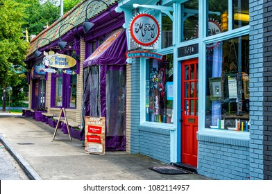Atlanta, Georgia/USA - 6/10/17 - Colorful shops and buildings in the Candler Park burrow of Atlanta
