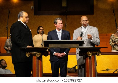 Atlanta, Georgia/U.S.A - March 13th, 2019: Georgia Governor Brian Kemp visits and speaks at a African American church about political issues