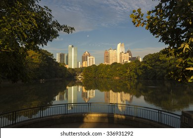 ATLANTA, GEORGIA/USA - OCTOBER 10, 2014: Skyline with reflections, Piedmont Park. The history of skyscrapers in Atlanta began with the completion in 1892 of the Equitable Building.