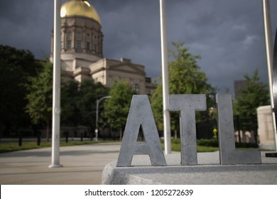 """Atlanta, Georgia/USA - September 21st 2018:  """"ATL"""" letter sit in front of the Georgia State Capitol"""