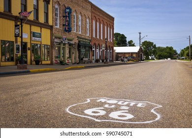 Atlanta, Illinois, USA - July 5, 2014: Stretch of the US Route 66 in the city of Atlanta, Illinois, USA