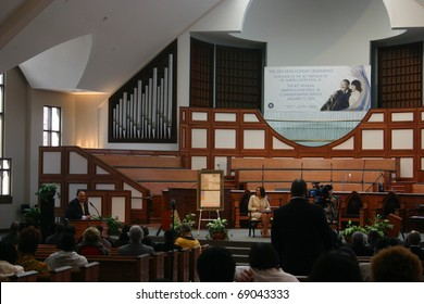 ATLANTA - JAN 15: Martin Luther King III addresses a crowd at Ebenezer Baptist Church on what would have been his father's 82 birthday, January 15, 2011.