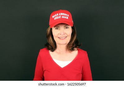 ATLANTA - JANUARY 17: A woman wearing a Make America Great Again hat poses for the camera in Atlanta, Georgia on January 17, 2020. Make America Great Again is the campaign slogan of Donald J. Trump.