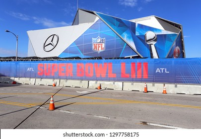 ATLANTA - JANUARY 28: A view of Mercedes-Benz Stadium a few days before hosting Super Bowl LIII in Atlanta, Georgia on January 28, 2019. Mercedes-Benz Stadium is a retractable roof stadium.