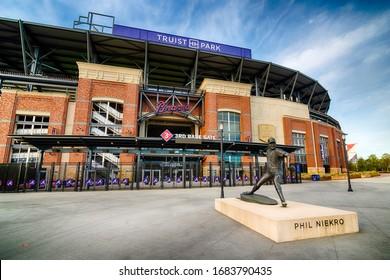 ATLANTA - MARCH 26: An entrance to Truist Stadium in Atlanta, Georgia, on March 26, 2020. The stadium is a ballpark and the home field of Major League Baseball's Atlanta Braves.