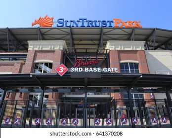 ATLANTA - MAY 10: An entrance to Suntrust Park in Atlanta, Georgia on May 10, 2017. Suntrust Park is a ballpark and the home field of Major League Baseball's Atlanta Braves.